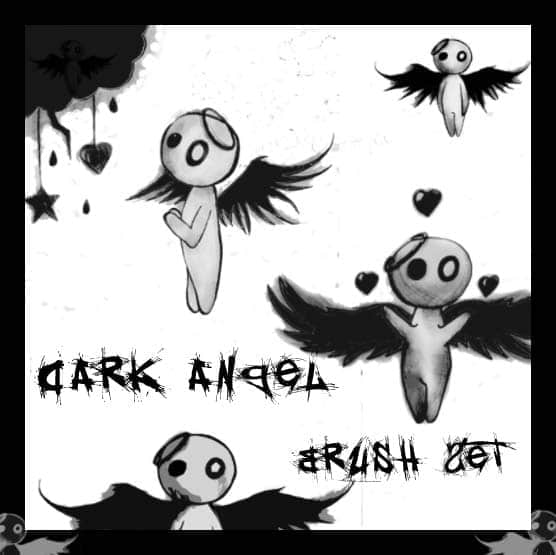 黑暗天使可爱素描小人物笔刷