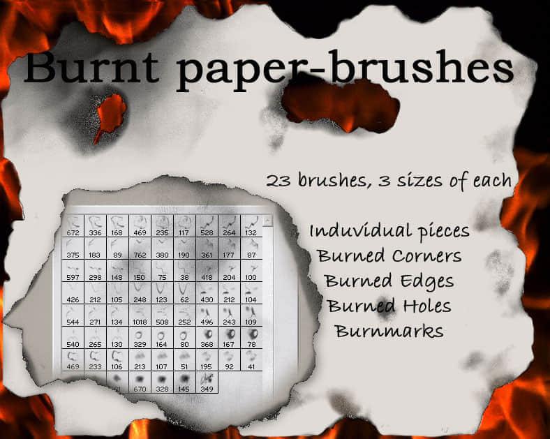 被烧穿的纸效果纹理笔刷 纸效果笔刷 烧燃效果笔刷  flame brushes