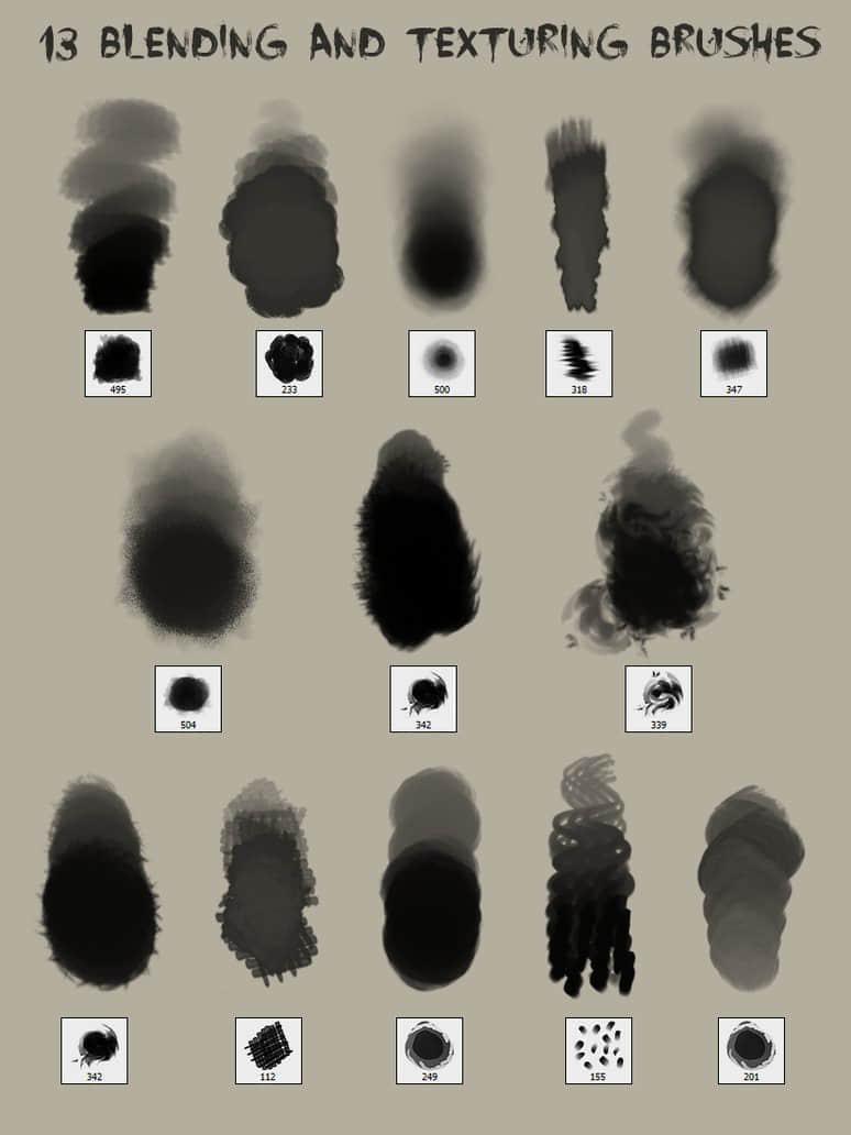 13种混合纹理效果画笔笔刷