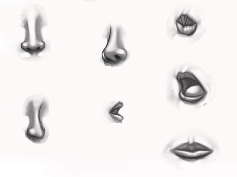素描式鼻子嘴巴笔刷