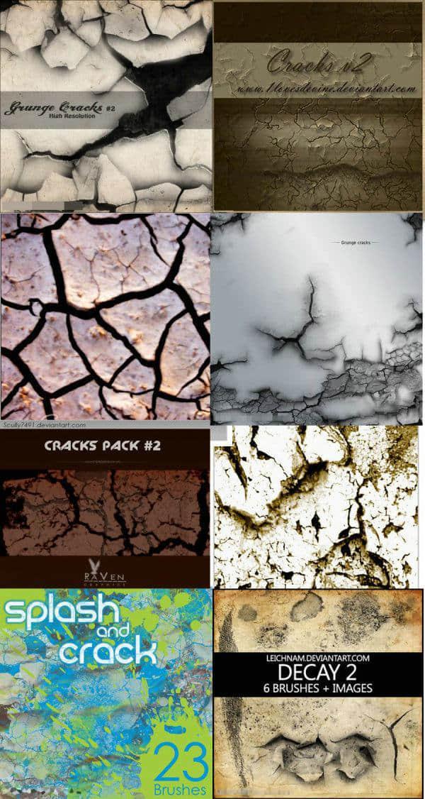 8个地面裂纹龟裂效果笔刷