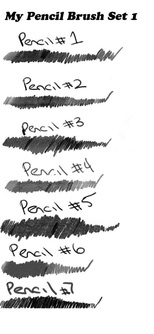 7种铅笔、素描、手绘、水彩笔笔触笔刷