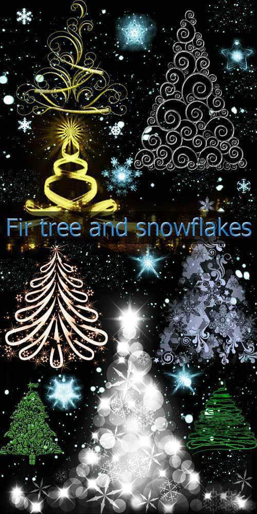 四个枞树、雪花、祥光等喜庆圣诞类PS笔刷打包下载