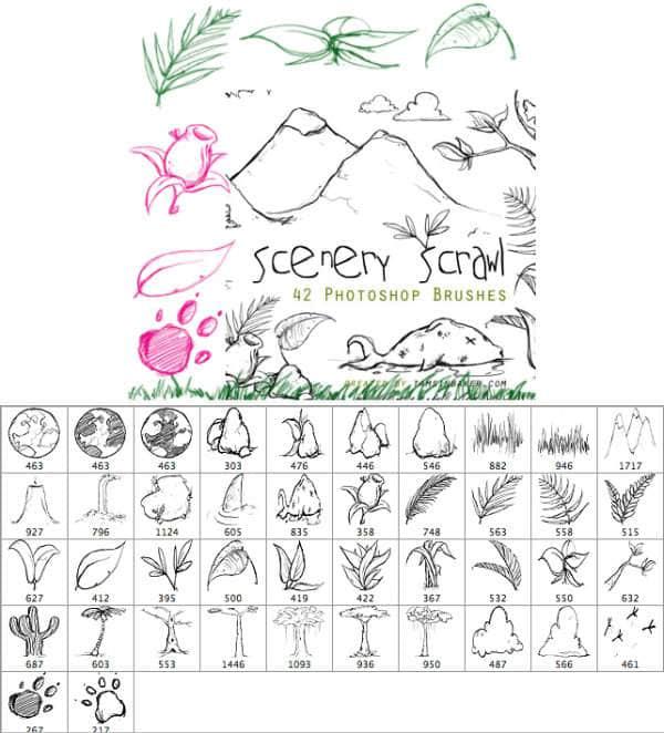 卡通手绘原始森林元素笔刷