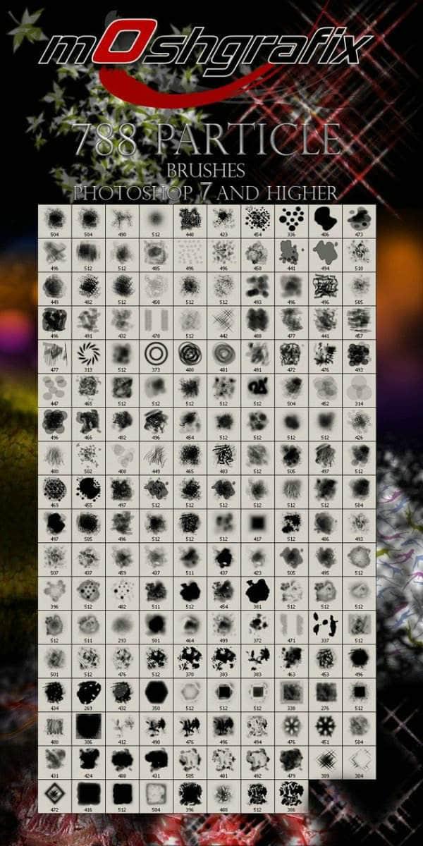 788个光斑、花草、墨迹、边框、喷溅等精品装饰元素类PS笔刷