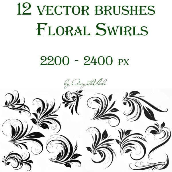 12种漂亮装饰花纹图案PS笔刷