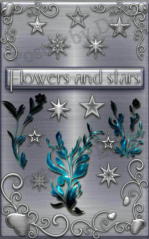 装饰花纹与立体星星PS笔刷