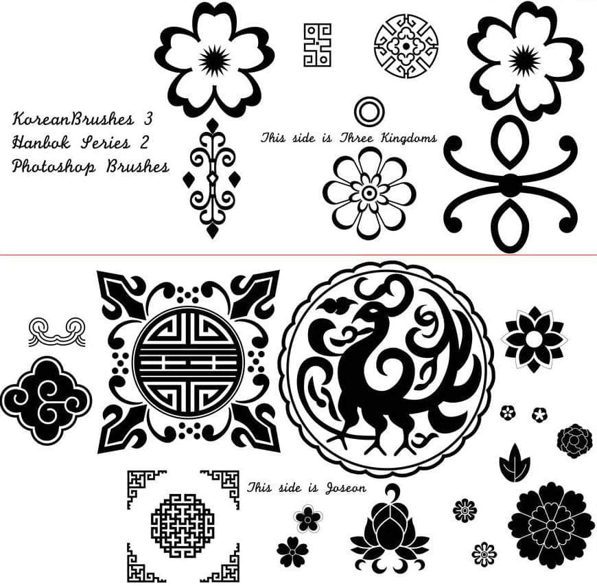 民族式古典花纹、龙形图案PS笔刷