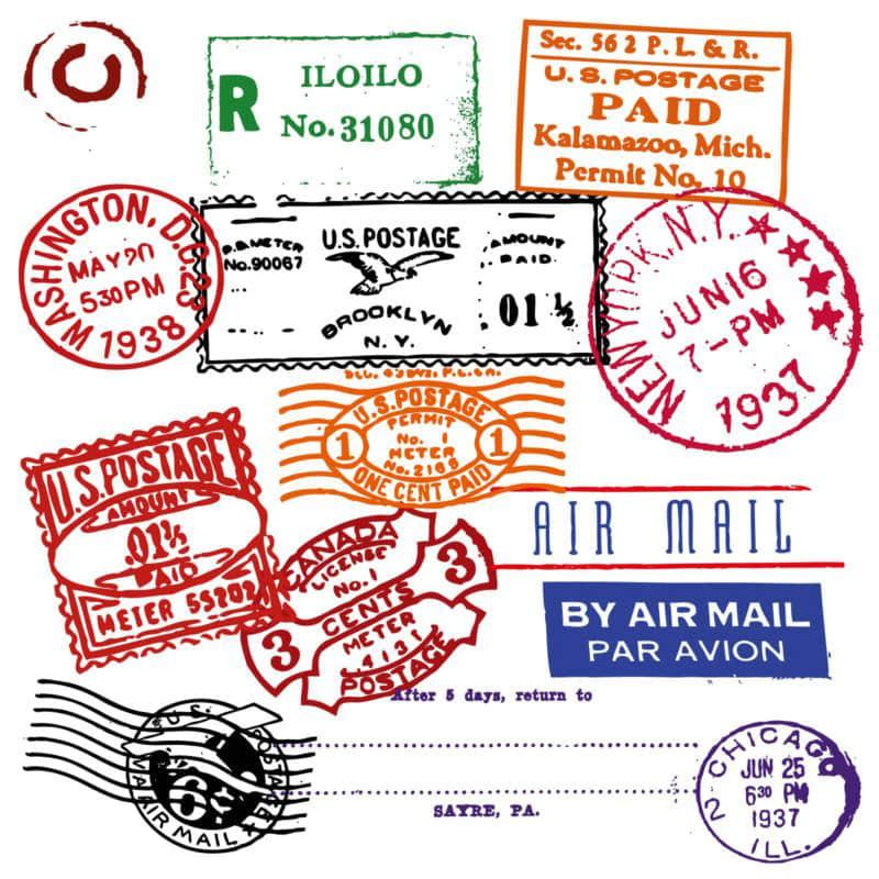 英文信件书信邮戳印迹PS笔刷 #.1