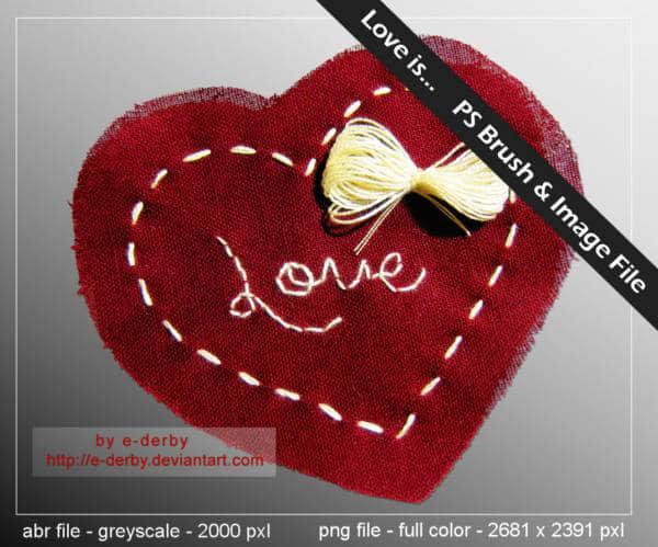 单个手缝布做爱心PS笔刷