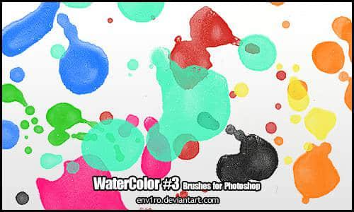鲜明的水彩滴溅效果PS笔刷