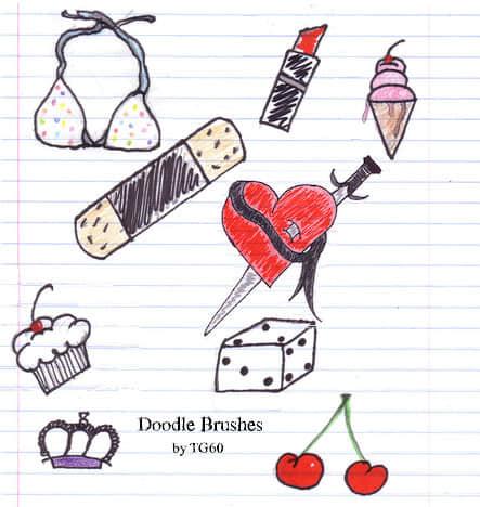 卡哇伊女孩生活元素涂鸦PS画笔笔刷
