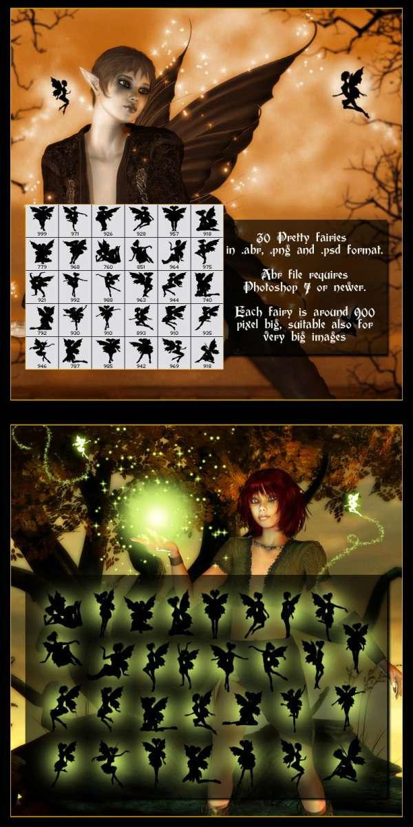 漂亮可爱的高品质精灵妖精仙女PS笔刷