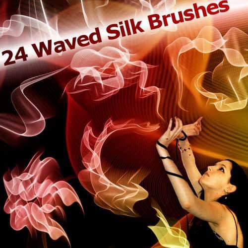 24款高清晰飘舞的丝绸PS笔刷