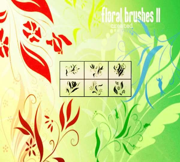 6款高清晰漂亮的植物装饰花纹PS笔刷