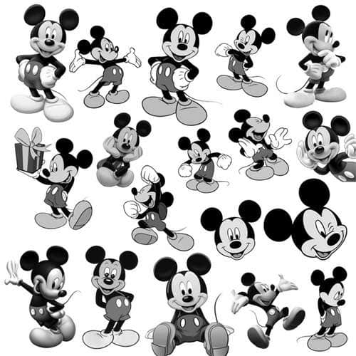18个3D卡通米老鼠人物PS笔刷