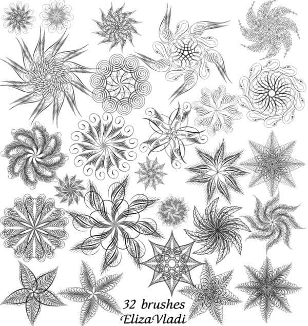 32种完美之花PS笔刷
