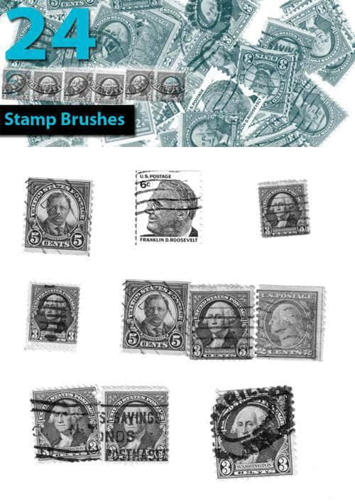24款真实的国外邮票PS笔刷 邮票笔刷 真实邮票笔刷 照片装饰笔刷 国外邮票笔刷  other brushes