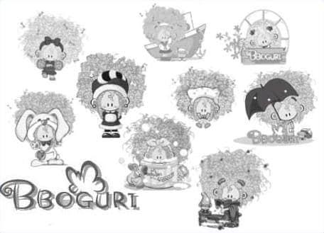 韩国可爱卡通娃娃爆炸头女孩PS笔刷