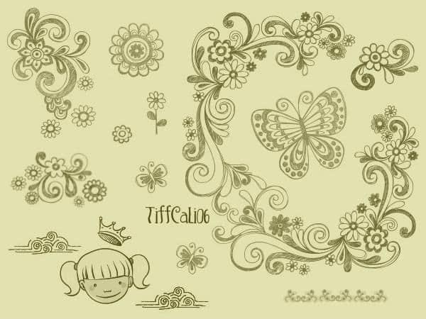可爱卡通手绘花纹和女孩头像PS笔刷