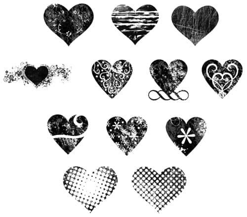 12种时尚爱心装饰笔刷