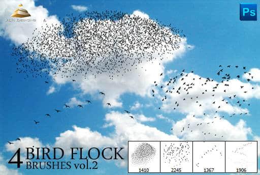 天空中飞翔的鸟群PS笔刷 #.2