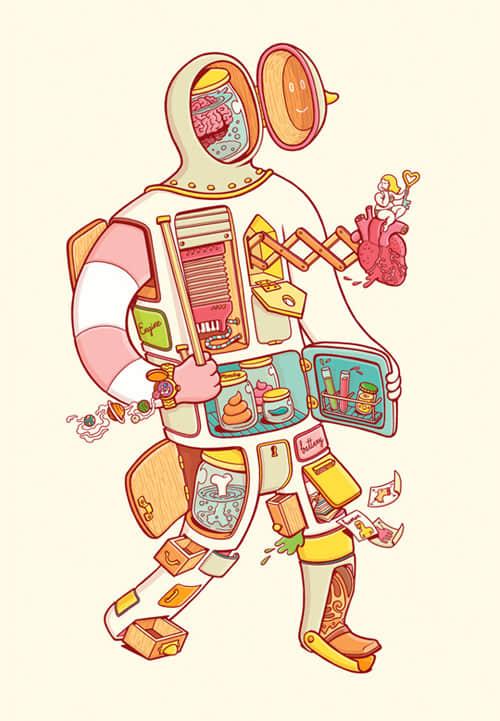 精美3d人体解剖图_20张创意人体解剖构思插画设计 : PS笔刷吧-笔刷免费下载