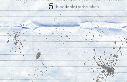 5种淡墨汁喷溅PS笔刷下载