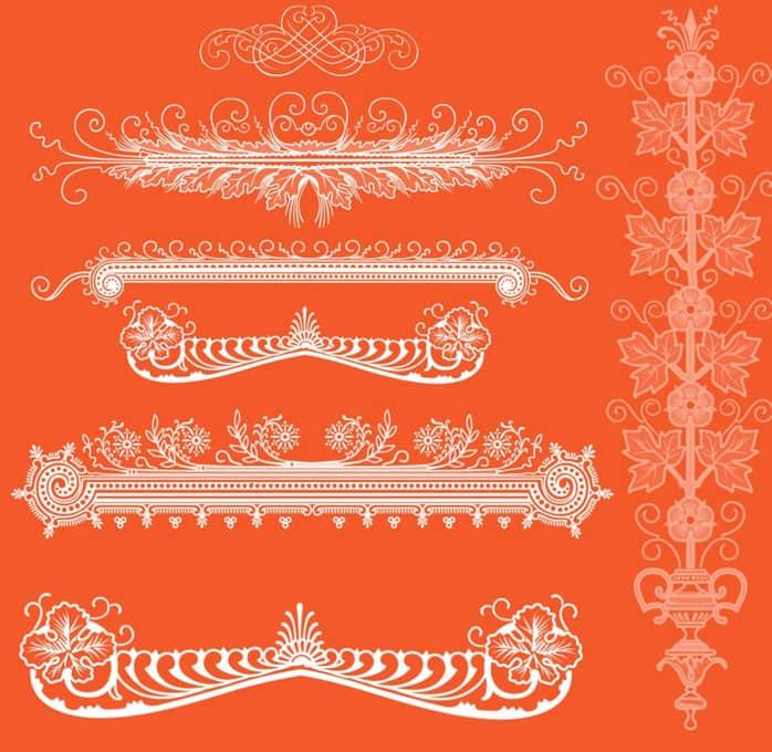 欧式贵族花纹边框装饰PS笔刷