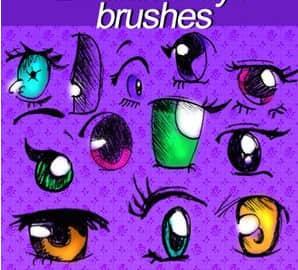24种超可爱卡通眼睛PS笔刷