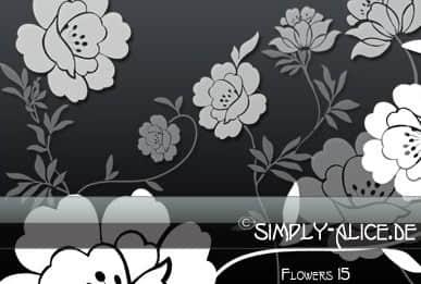 漂亮的剪纸式花朵PS笔刷 花朵笔刷 剪纸花纹笔刷 剪纸笔刷  flowers brushes