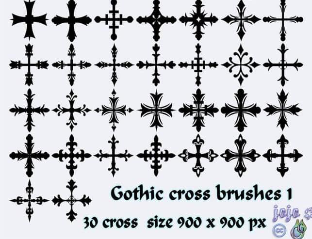 欧式十字架装饰花纹PS笔刷