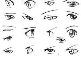 可爱的卡通人物眼睛素描笔刷