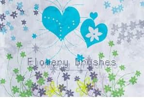 时尚靓丽的心形花朵花卉笔刷