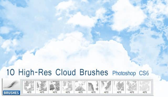 10种大型高分辨率高空白云、云朵PS笔刷下载