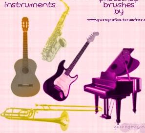 钢琴、萨克斯、长号、贝斯、吉他等音乐乐器笔刷