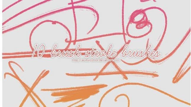 细毛刷手绘涂抹线条PS笔刷
