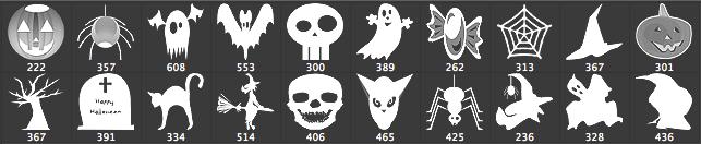 万圣节装饰品蝙蝠、巫婆、南瓜灯、幽灵、墓地PS笔刷