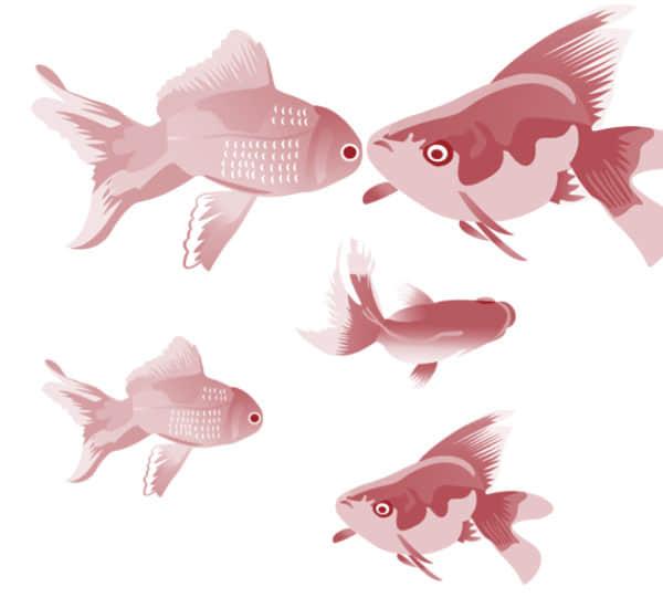水墨画金鱼图案PS笔刷素材