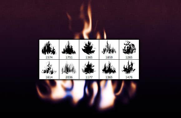 真实火焰、小火苗燃烧效果PS笔刷素材 火苗笔刷 火焰燃烧笔刷  flame brushes