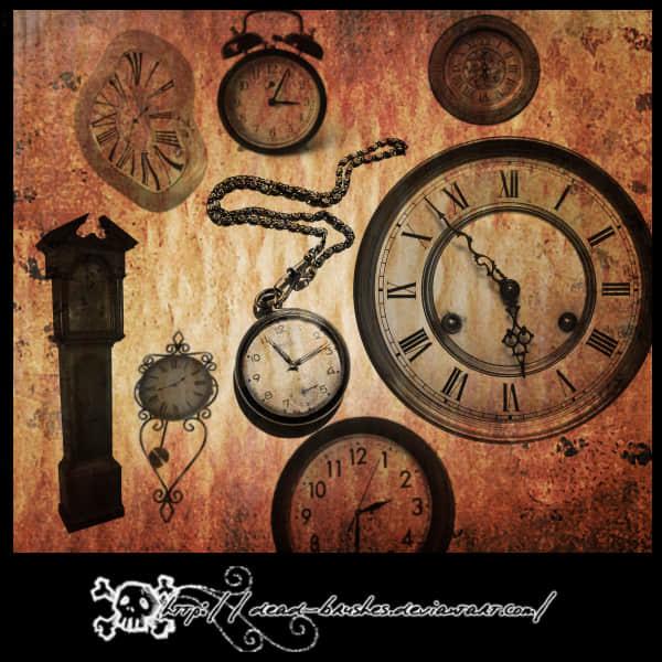21种各式各样的钟表、钟PS笔刷素材