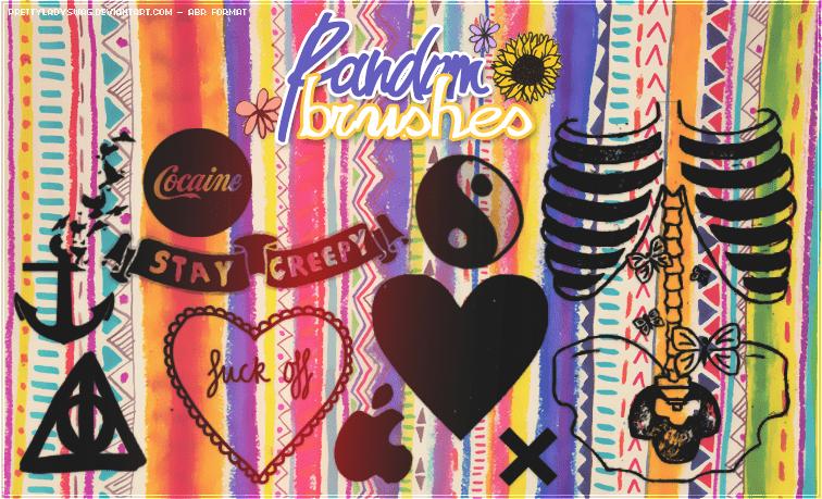 非主流装饰爱心、三角、船锚、太极PS笔刷