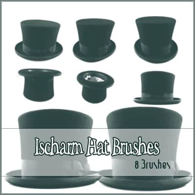 魔术帽、绅士帽PS笔刷素材 魔术帽笔刷 礼帽笔刷 帽子笔刷  characters brushes