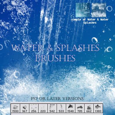 流水、落水、水花效果photoshop笔刷素材下载 水花笔刷  water brushes