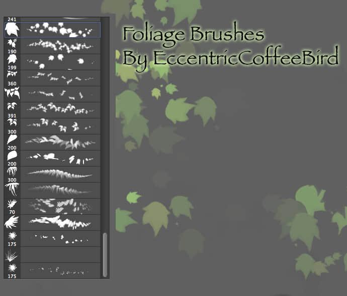 落叶、树叶、枫叶Photoshop笔刷套装下载