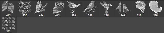 猫头鹰、啄木鸟、麻雀等鸟类PS笔刷