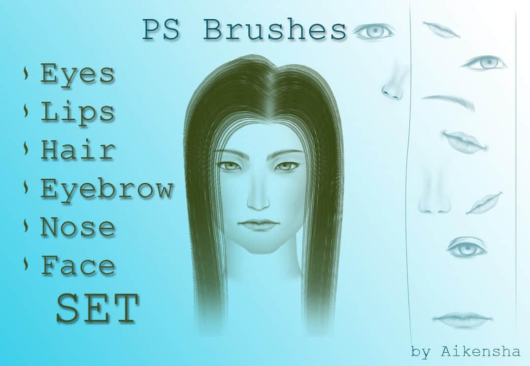 CG绘画式人物眼睛、鼻子、眉毛、嘴巴photoshop笔刷素材