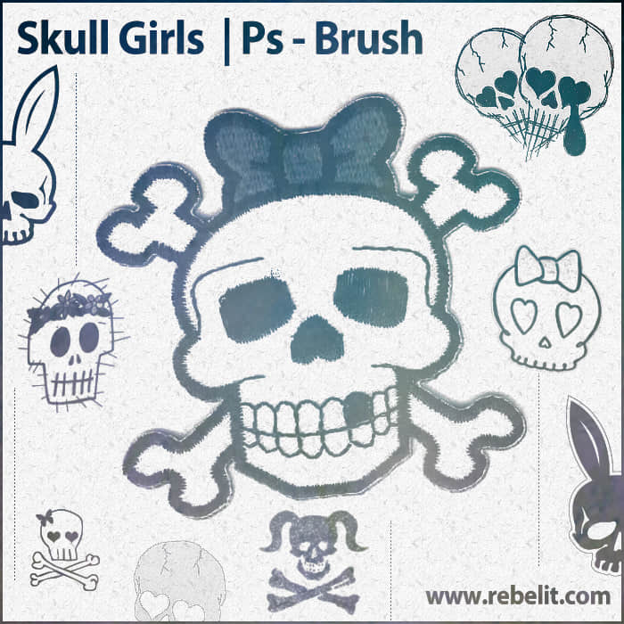 可爱粉色骷髅头非主流photoshop笔刷素材 骷髅头笔刷 照片装扮笔刷 卡通骷髅头笔刷  %e9%9d%9e%e4%b8%bb%e6%b5%81%e7%ac%94%e5%88%b7 symbols brushes