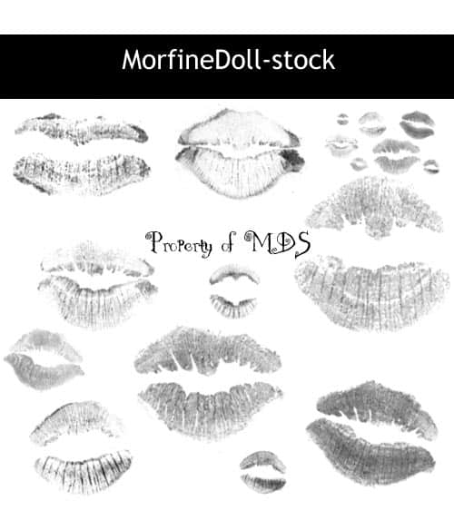 女性口红唇印photoshop笔刷素材