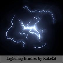 光影雷电特效photoshop笔刷素材 雷电笔刷  lightning brushes